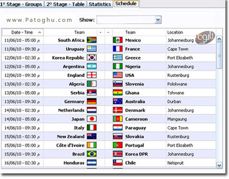 نرم افزار مشاهده آنلاین آخرین نتایج بازی های فوتبال جام جهانی 2010 آفریقا جنوبی