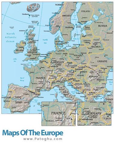 نقشه جغرافیایی قاره اروپا با کیفیت بالا و فرمت PDF