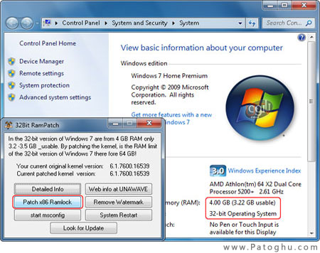 32-bit Windows 7 with full 4 GB or 8 GB RAM support