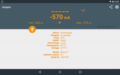 ابزار قدرتمند جهت اندازه گیری میزان شارژ و تخلیه باتری اندروید Ampere Pro v1.49 Final
