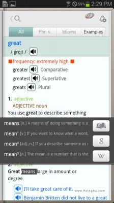 دیکشنری کامل و جامع برای اندروید Collins English Dictionary v4.3.135